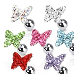 """Surgical Steel Tragus/Cartilage Barbell with Paved Butterfly Top - 16GA 1/4"""" Long (Sold Ind.) (5 options available)"""