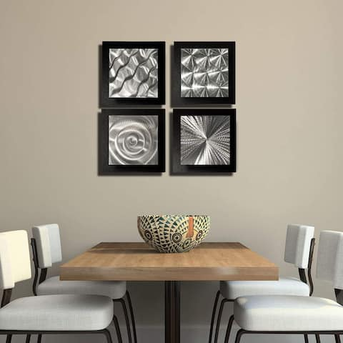 Statements2000 Black/Silver Metal Wall Art Accent Sculpture Modern Decor by Jon Allen (Set of 4) - 4 Squares Black