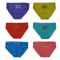 "Girls 12-Pack Cotton ""Paris"" Assorted Colors Brief Panties"