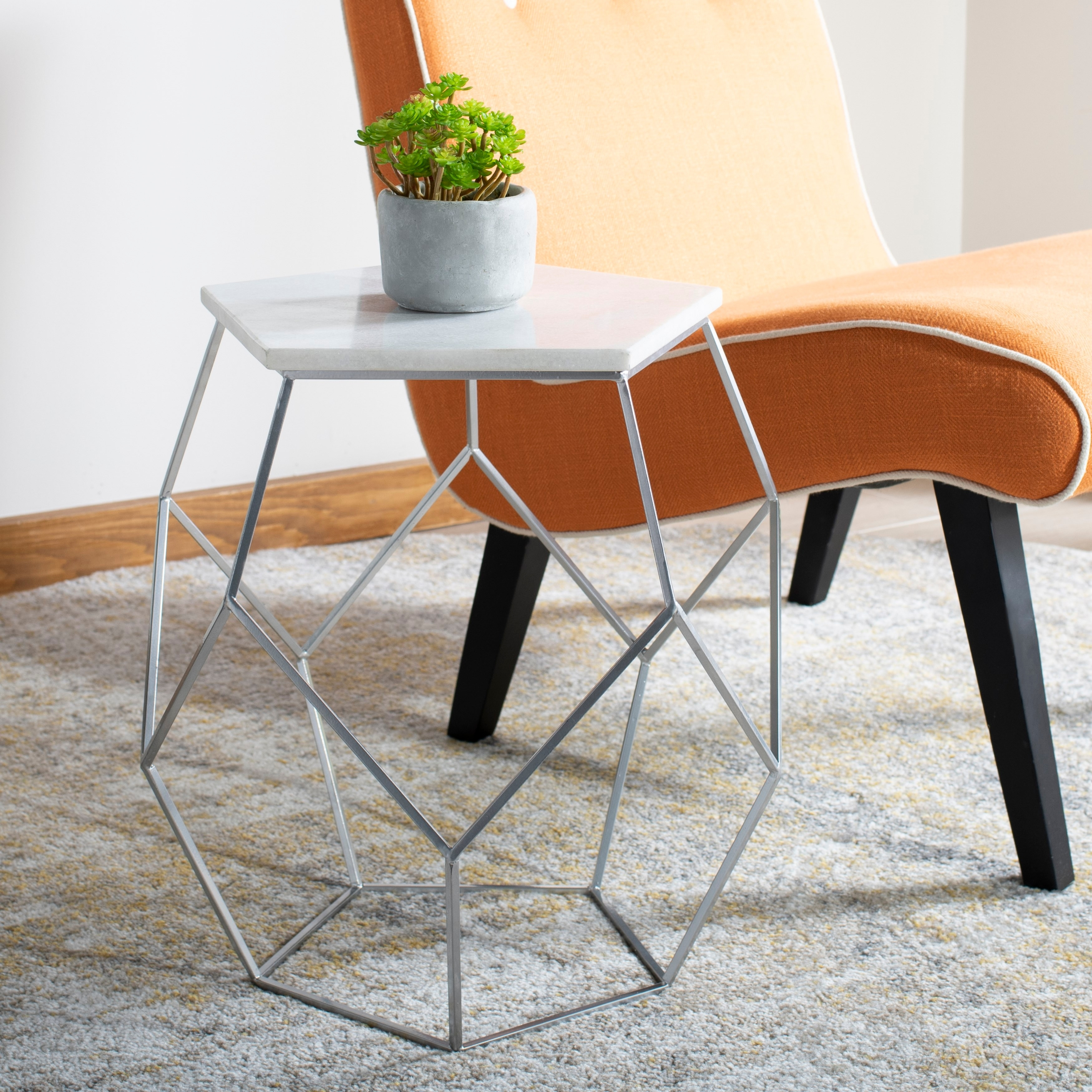 Picture of: Safavieh Modern Pentagon Marble Top Side Table Silver 18 X 18 X 18 Overstock 23591348