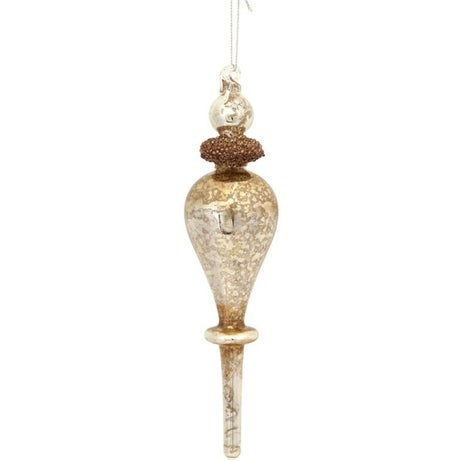 """8.5"""" Chocolate Brown and Silver Beaded Mercury Glass Christmas Finial Ornament"""
