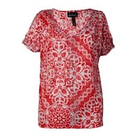 INC International Concepts Women's Embellished Printed Top (S, Russian Rose) - russian rose - s