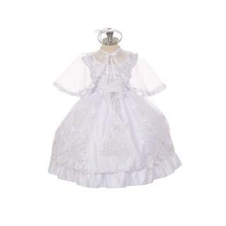 Rain Kids Baby Girls White Guardian Angel Organza Cape Baptism Dress 6-12M
