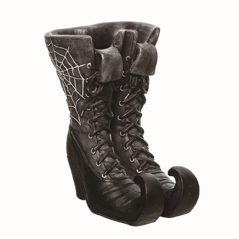 Transpac Resin Black Halloween Web Witch Boot Container