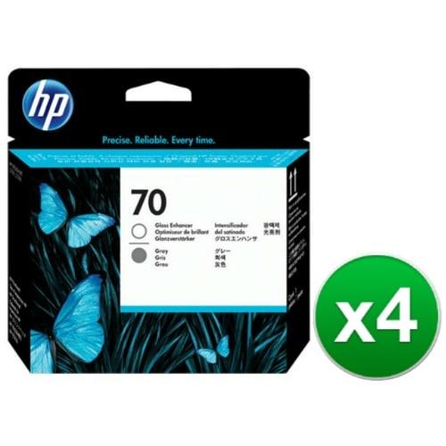 HP 70 Gloss Enhancer & Gray DesignJet Printhead (C9410A) (4-Pack)