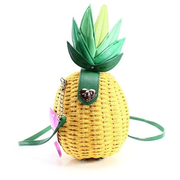 f8d673a3e105 Betsey Johnson NEW Yellow Straw PVC Pineapple Small Crossbody Bag Purse
