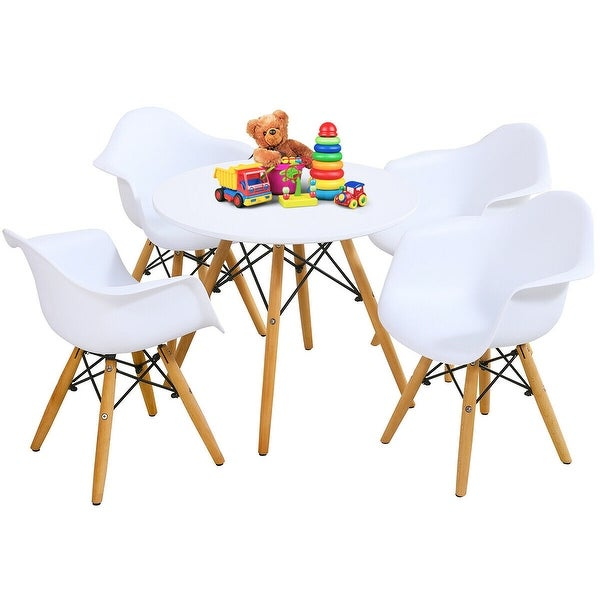 Gymax 5 PC Kids Round Table Chair Set with 4 Arm Chairs White