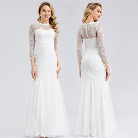 Ever-Pretty Womens Floral Lace Fitted Bridal Gowns Wedding Dresses for Bride 0822