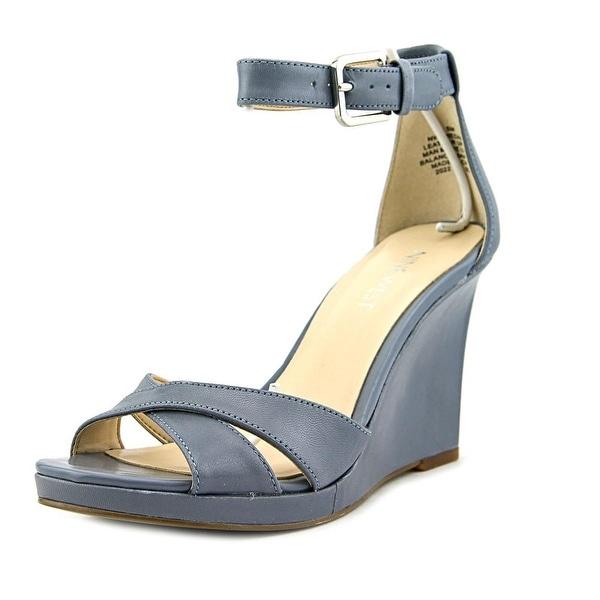 Nine West Medano Women Open Toe Leather Blue Wedge Heel