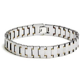 Chisel Men's Polished Tungsten Carbide Bracelet with Gold Accents - 8.5 Inches