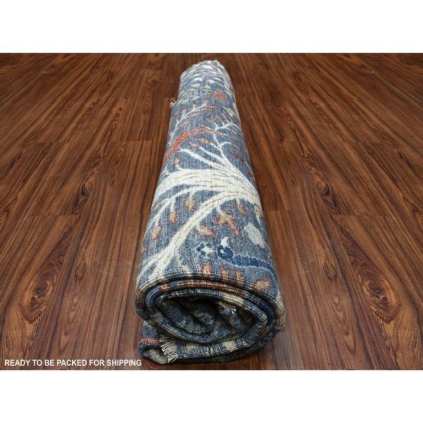 Shahbanu Rugs Round Blue Peshawar Birds Of Paradise Organic Wool Oriental Rug 8 1 X 8 1 8 1 X 8 1 Overstock 32315147