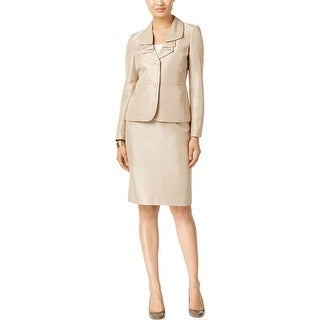 Le Suit Womens Skirt Suit Ruffled Shimmer - 8