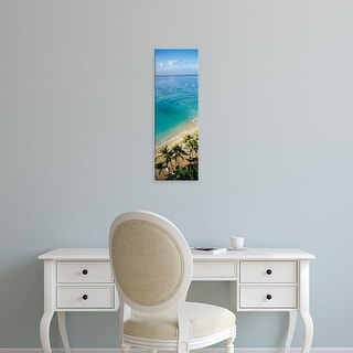 Easy Art Prints Panoramic Image 'Palm trees, Umbrellas on the beach, Waikiki Beach, Honolulu, Oahu, Hawaii' Canvas Art