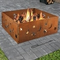 Sunnydaze Square Rustic Stars and Moons Fire Pit Ring, 30 Inch - Thumbnail 0