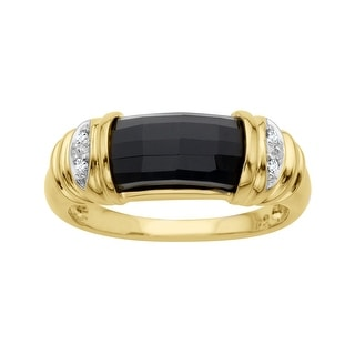 2 3/4 ct Onyx Ring with Diamonds in 14K Gold - Black