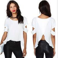 Women On The Back Cross-cut Strapless Short Sleeves Women Blouse Chiffon Shirt
