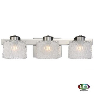 "Platinum PCSW8603LED Seaview 3 Light 22"" Wide Bathroom Vanity Light with Glass Bell Shades"