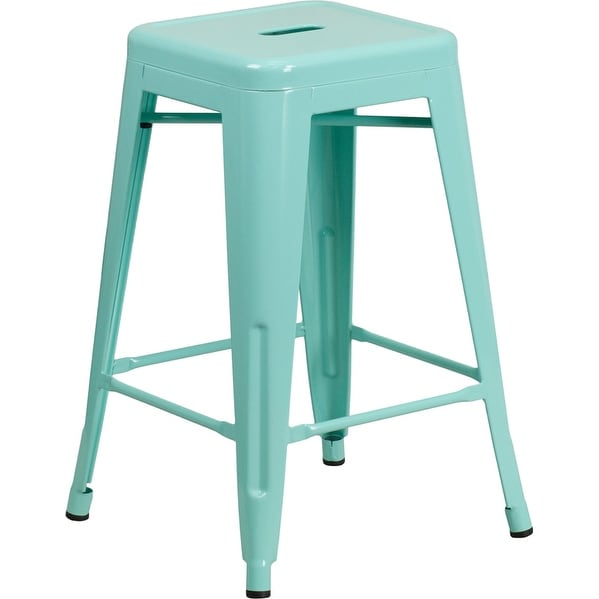 Brimmes 24'' High Backless Mint Green Indoor/Outdoor/Patio/Bar Counter Height Stool