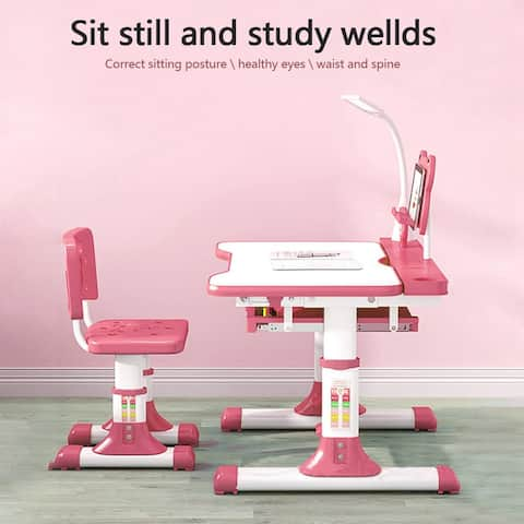 Kids Desk And Chair Set Height Adjustable Children Study Table LED Desk Lamp