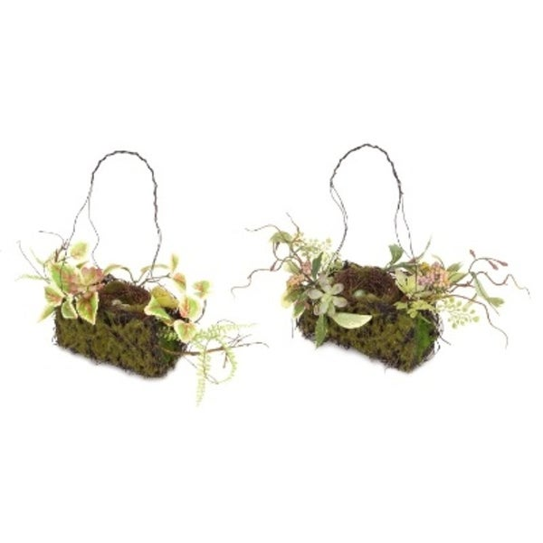 Pack of 2 Artifical Green Rustic-Style Hanging Bird Nest Christmas Ornaments 14""