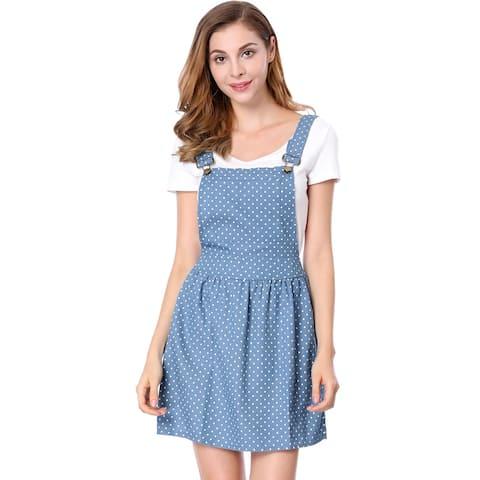 Women's Adjustable Straps Mini Pinafore Jean Denim Overall Dress L - Light Blue