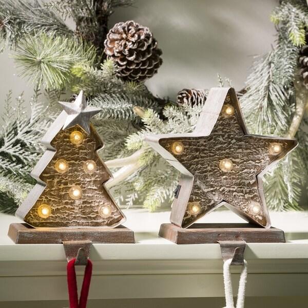"Glitzhome Christmas LED Stocking Holder - 7.50""h. Opens flyout."