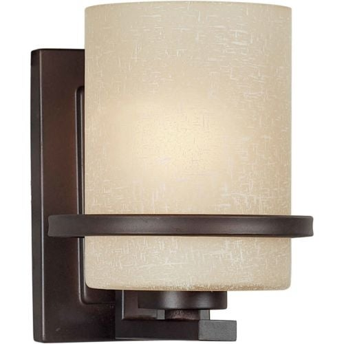 Forte Lighting 2404-01 1 Light Wall Sconce with White Linen Glass Shade