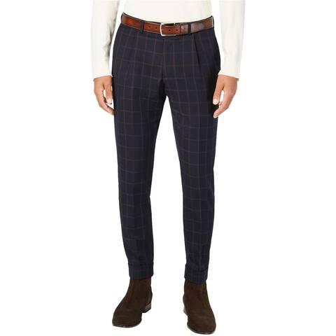 Tallia Mens Windowpane Crop Dress Pants Slacks, Blue, 38W x 32L - 38W x 32L