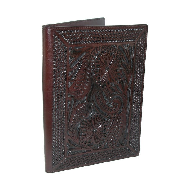 New 3 D Belt Company Leather Basketweave and Floral Hand-Tooled Padfolio