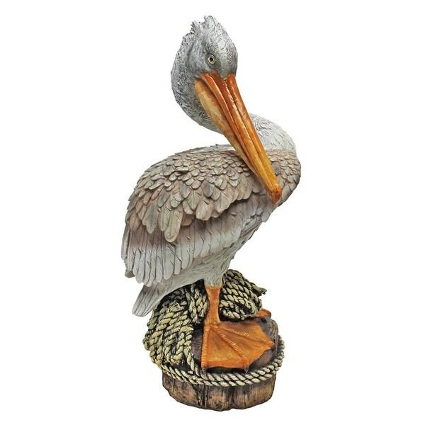 """Ocean/'s Perch Pelican 24/"""" Hand Painted Design Toscano Exclusive Garden Statue"""