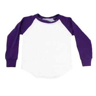 Unisex Baby Purple Two Tone Long Sleeve Raglan Baseball T-Shirt