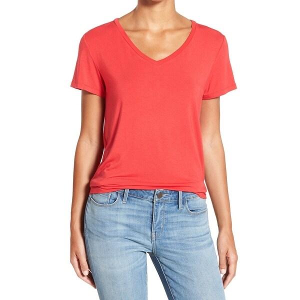 95e1fbdc2c34a Halogen Womens Small Petite Solid Stretch V-Neck T-Shirt