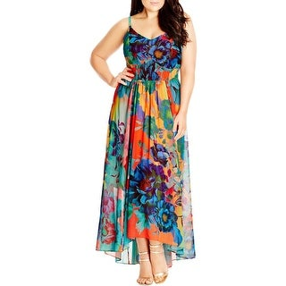 City Chic Womens Plus Maxi Hot Summer Days Maxi Dress Smocked Floral Print