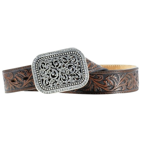 Ariat Western Belt Womens Leather Filigree Rhinestone Bark