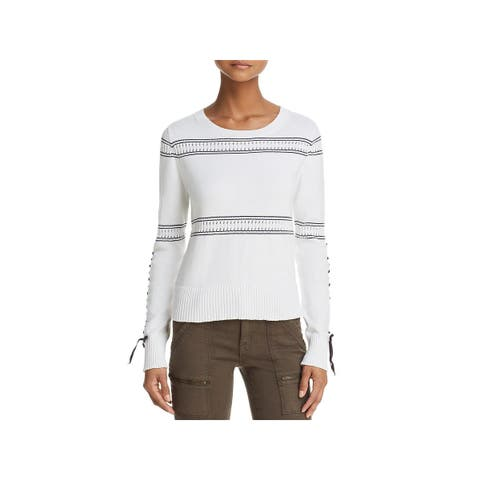 French Connection Womens Pullover Sweater Knit Lace-Up
