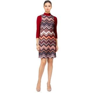 ECI Chevron Print Layered Look 3/4 Sleeve Shift Dress Ivory/Red