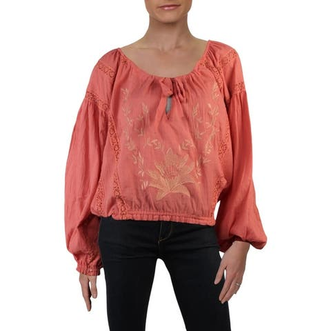 Free People Womens Maria Peasant Top Embroidered Lace Inset
