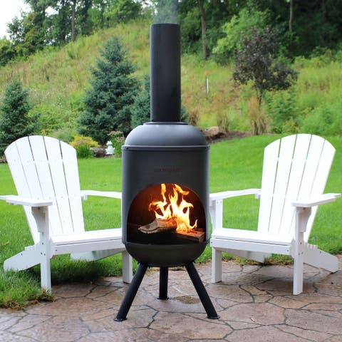 "Sunnydaze 60"" Chiminea Outdoor Wood-Burning Fire Pit Black Steel with Fire Poker"