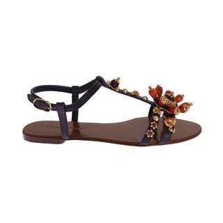Dolce & Gabbana Dolce & Gabbana Purple Leather Crystal Sandals