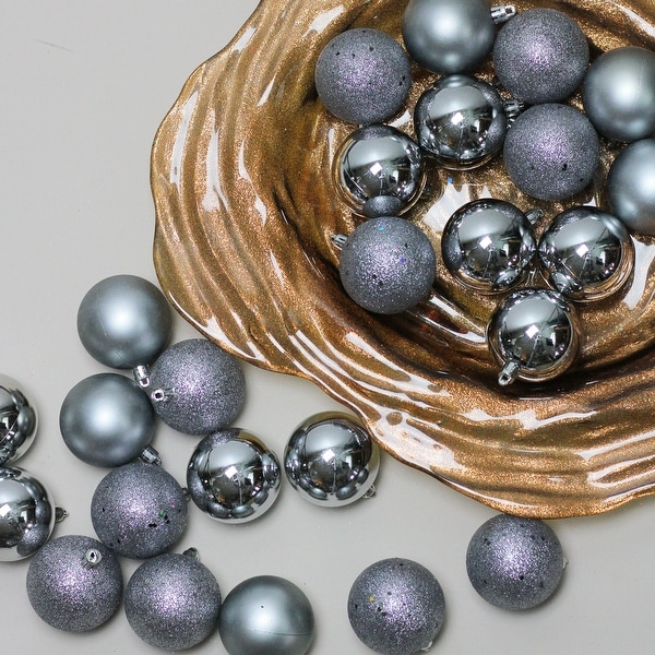 """60ct Pewter Gray Shatterproof 4-Finish Christmas Ball Ornaments 2.5"""" (60mm)"""