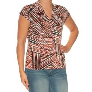 Womens Orange Black Cap Sleeve V Neck Top Size S