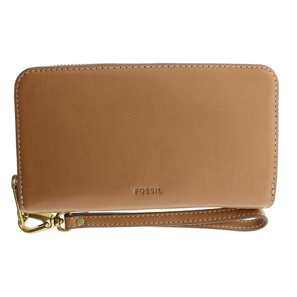 Fossil Womens Emma Wristlet Wallet Leather Zip Around - o/s
