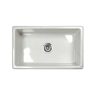 "Rohl UM3018 Shaws Classic 27-5/32"" Single Basin Undermount Fireclay Kitchen Sink"