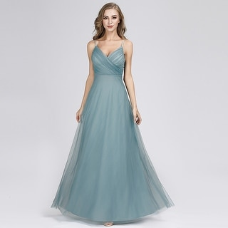 61f1c24ce2c Ever-Pretty Womens V-Neck Tulle Long Prom Party Bridesmaid Dress 73692