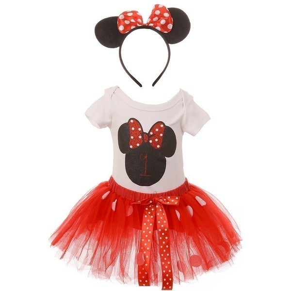 56e913c3f Shop Baby Girls Red Mickey Mouse Top Tutu Skirt Bow 3 Pc Birthday Set -  Free Shipping On Orders Over $45 - Overstock - 28298922