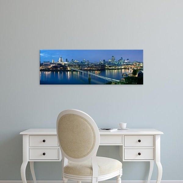 Easy Art Prints Panoramic Images's 'Millennium Bridge, St. Paul's Cathedral, Thames River, London, England' Canvas Art
