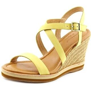 Corso Como Gladis Women Open Toe Leather Yellow Wedge Sandal