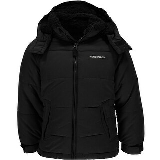 London Fog Boys 2T-4T Hooded Sherpa Bubble Jacket