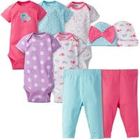 Gerber Baby Girls' 9 Piece Playwear Bundle, Birdie, Onesies/Pant Set - birdie