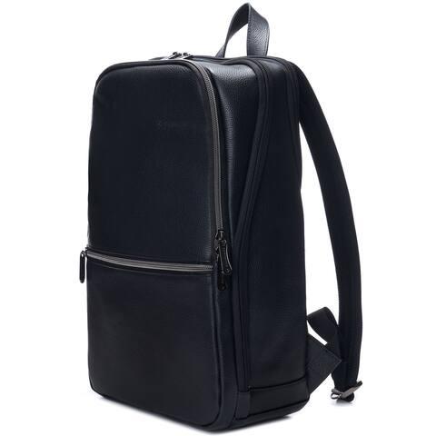 Alpine Swiss Mens Sloan Slim 14.1 Laptop Backpack Top Grain Leather - Black - One Size